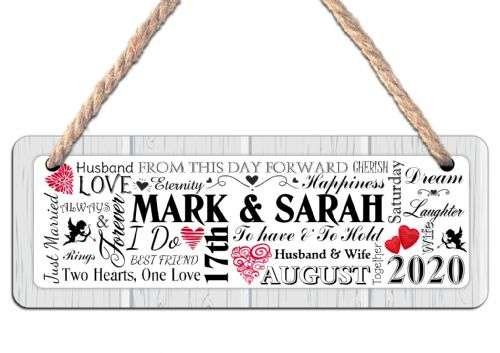 Personalised Wedding Word Art Hanging Door Sign Plaque N29
